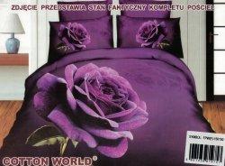 Pościel 3D Kwiaty - Fioletowa Róża  Cotton World 160x200 100% mikrowłókno. Pościel 3D z Kwiatami
