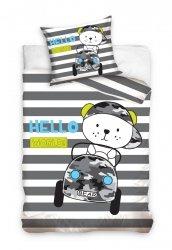 Pościel dla dzieci z Misiem w samochodzie 160x200 Biało - Szara Carbotex 100% bawełna NL 181013