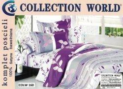 Pościel Collection World 160x200 Fioletowa w Kwiaty 100% bawełna wz 160
