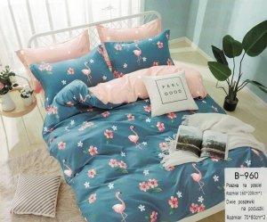 Pościel Mengtianzi 160x200 Niebieska - Różowa we Flamingi  100% bawełna wz B-960