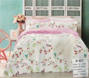 Pościel Mengtianzi Biało Różowa w Kwiaty 160x200 100% bawełna B-657