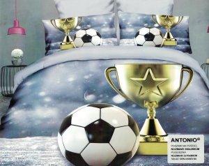 Pościel 3D Piłka Nożna Puchar 160x200 Satnyna Bawełniana Milano wz. PN 23