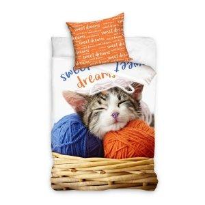 Pościel młodzieżowa 3D 140x200 z Kotem Carbotex 100% bawełna. Pościel 3D z kotkiem 140x200