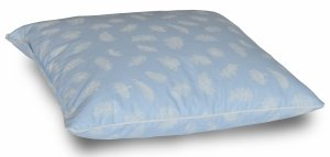 Poduszka półpuch 40x40 cm Niebieska w białe piórka. Poduszka Polpuch