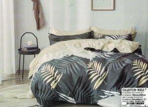 Pościel Collection World 180x200 Szara - Beżowa w Liście 100% bawełna wz 1297