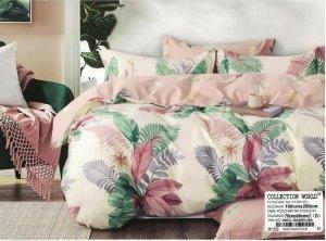 Pościel Collection World 160x200 Ecru - Różowa  w Liście 100% bawełna wz 1356