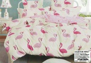 Pościel 160x200 Ecru - Różowa we Flamingi 100% bawełna wz 1381. Pościel we Flamingi 160x200.