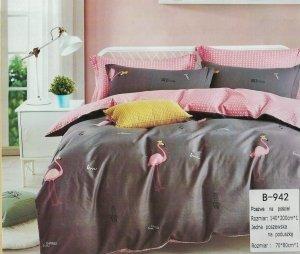 Pościel Mengtianzi 140x200 Grafitowa - Różowa  we Flamingi  100% bawełna wz B-942
