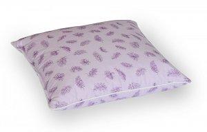 Poduszka z pierza dartego 40x40 cm Fioletowa w fioletowe piórka. Poduszka pióra darte Polpuch