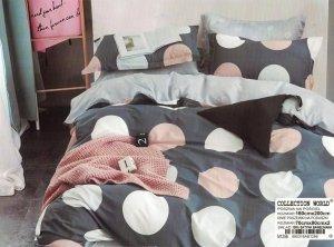 Pościel Collection World 160x200 Szara w Grochy  100% bawełna wz 1256