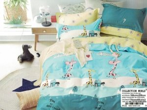 Pościel Collection World 160x200 dla dzieci - Niebieska w Żyrafy - 100% bawełna wz 1235