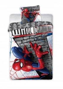 Pościel dla dzieci Spider Man 160x200 Faro 100% bawełna szara - niebieska
