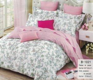 Pościel Mengtianzi Biała - Różowa w Kwiaty  200x220 100% bawełna B-1021. Pościel 200x220.