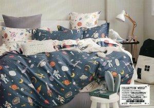 Pościel Collection World 140x200 dla dzieci - Grafitowa Kosmos - Astronauci - 100% bawełna wz 1379