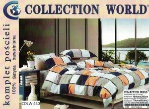 Pościel Collection World 160x200 Kolorowa w Kratkę 100% bawełna wz 430