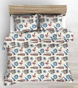 Pościel Marynarska 160x200 100% bawełna. 5-częsciowy komplet pościeli z czystej bawełny - Marynarska