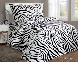 Pościel bawełniana 200x220 Biało - Czarna w Zebrę Luxury 100% bawełna. Biała pościel 200x220