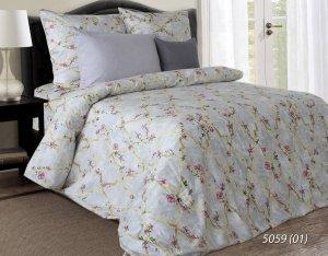 Pościel satynowa Luxury 200x220 Szara w Kwiaty 100% bawełna. Pościel w kwiaty 200x220