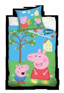 Pościel Świnka Peppa i Przyjaciele 140x200 cm kolorowa dla dzieci Carbotex 100% bawełna wz PP 191021
