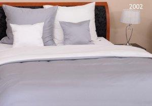 Szara - Biała Gładka pościel z makosatyny 160x200 Oritex 100% bawełna. Dwukolorowa pościel Szaro - Biała 160x200
