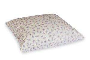 Poduszka półpuch 70x80 cm Ecru w fioletowe piórka. Poduszka Polpuch
