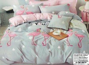 Pościel Collection World 160x200 Popielata - Różowa we Flamingi 100% bawełna wz 1215