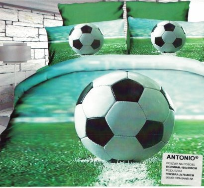 Pościel 3D Piłka Nożna Stadion 160x200 . Satnyna Bawełniana Milano wz. PN 20
