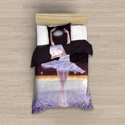 Pościel młodzieżowa 3D dla dziewczynki - Baletnica 160x200 Carbotex Kolorowa 100% bawełna NL 183011