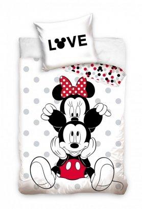 Pościel młodzieżowa Myszka Mickey i Minnie 140x200 cm 100% bawełna. Myszka Minnie i Mickey