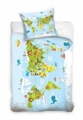 Pościel dla dzieci Mapa Świata 140x200 Carbotex 100% bawełna. Pościel z mapą świata.