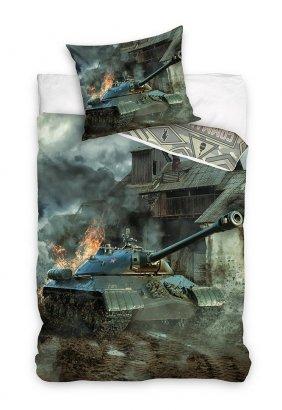 Pościel młodzieżowa 3D 160x200 z czołgiem ciężkim IS-3 Carbotex 100% bawełna. Pościel 3D z czołgiem 160x200