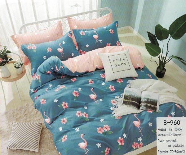 Niebieska - Różowa pościel we Flamingi 160x200 Mengtianzi B-960