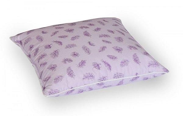 Poduszka z pierza dartego ręcznie 70x80 cm Fioletowa w fioletowe piórka