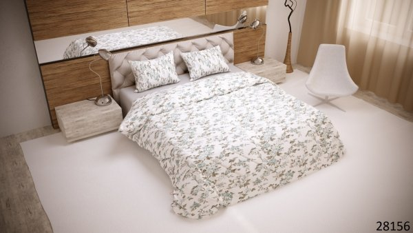 Biała pościel w Kwiaty 160x200 Luxury 100% bawełna