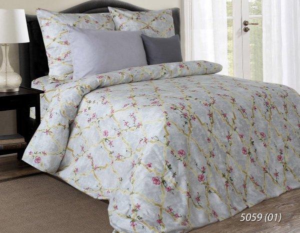 Szara pościel w kwiaty 160x200 Luxury