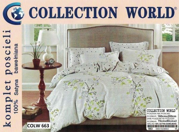 Pościel Collection World 160x200 Szara w Kwiaty