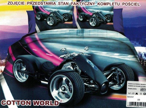 Pościel 3D Motocykl Trójkołowy Trike 160x200 Cotton World