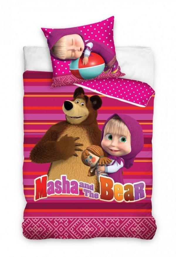 Różowa pościel dla dzieci Masha i Niedźwiedź 160x200