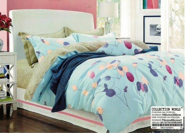 Niebieska pościel w Kwiaty Collection World 160x200 wz 931