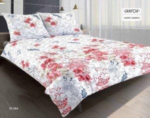 Pościel satynowa Premium 200x220 Matex Biała w Kwiaty SP-08A