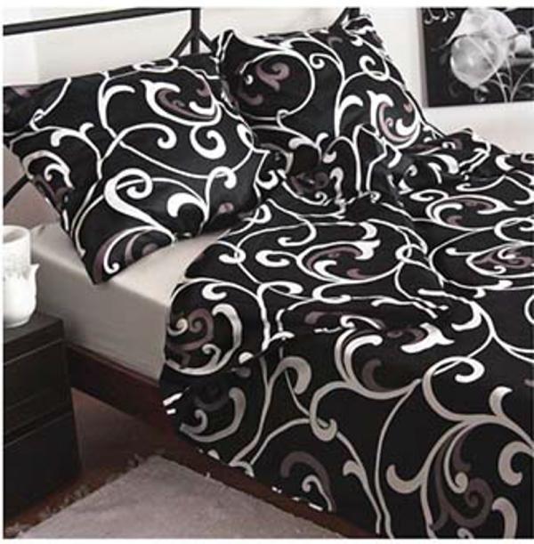 Czarna satynowa pościel Andropol 160x200 100% bawełna