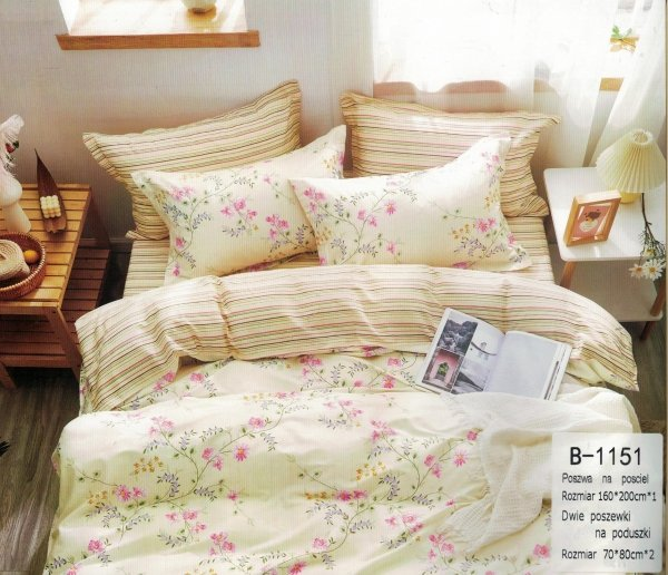 Kremowa pościel w Kwiaty 160x200 - Mengtianzi B-1151