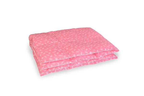 Kołdra z puchu gęsiego 160x200 Różowa w białe piórka