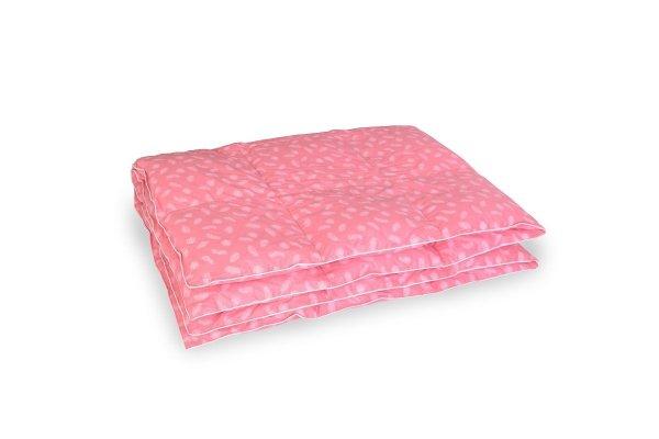 Kołdra z pierza dartego ręcznie 140x200 Różowa w białe piórka