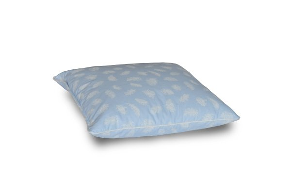 Poduszka z półpuchu 40x40cm Niebieska w białe piórka