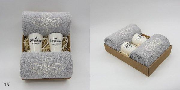 Komplet ręczników na prezent z Kubkami - Szary