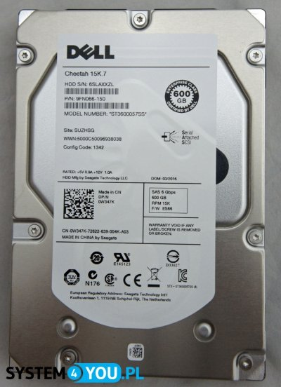Dell 600GB SAS6, 15K, 3.5'', Seagate Eagle