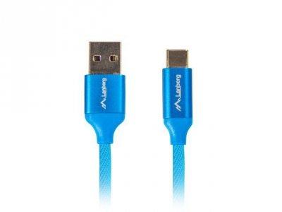 Kabel Lanberg Premium QC 3.0 CA-USBO-22CU-0018-BL (USB 2.0 typu A M - USB typu C M; 1,8m; kolor niebieski)