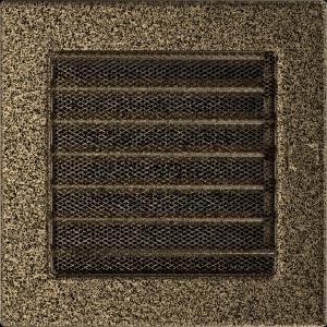 KRATKA kominkowa 17x17 czarno-złota z żaluzją
