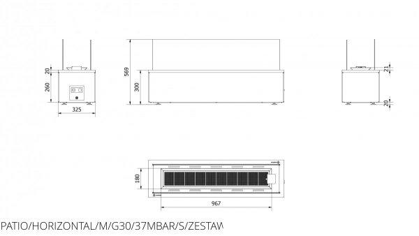 Ogrzewacz gazowy wolnostojący PATIO HORIZONTAL stalowy - sterowanie manualne